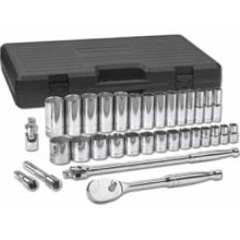 "GearWrench 33 Pc. SAE 6Pt. Standard and Deep Socket Set 1/2"" Drive"